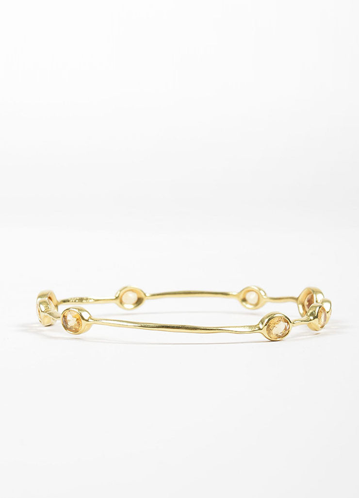 "18K Yellow Gold and Citrine 9 Stone Ippolita ""Rock Candy"" Bangle Bracelet Sideview"