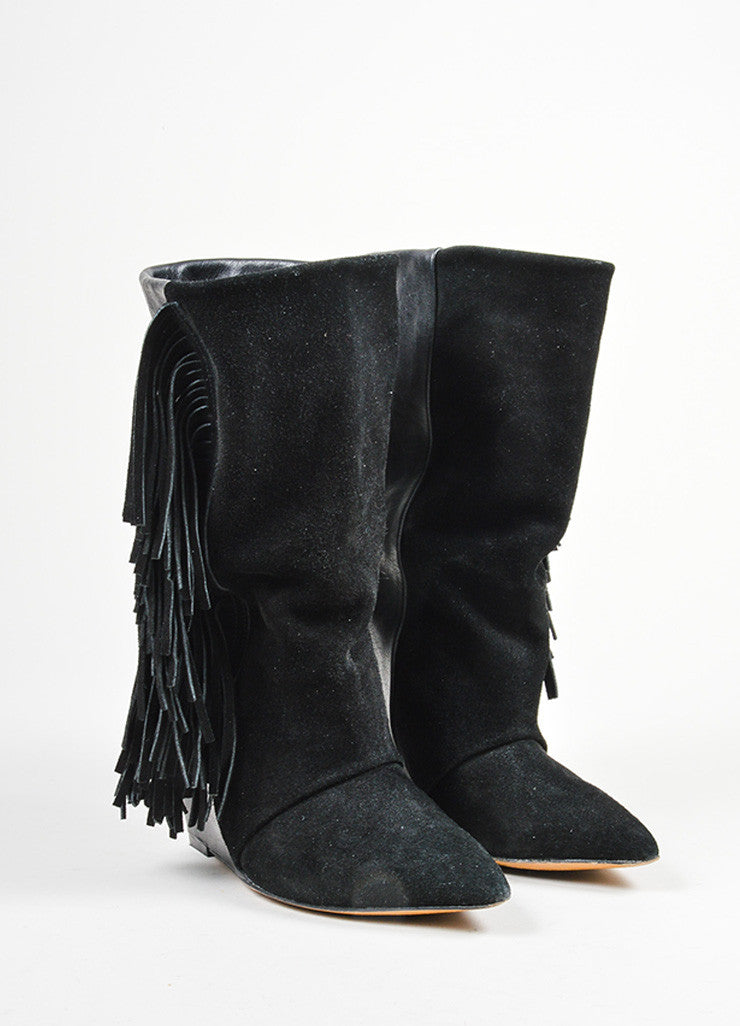 "Black Isabel Marant Leather Suede Fringe ""Mony"" Mid Calf Wedge Boots Frontview"