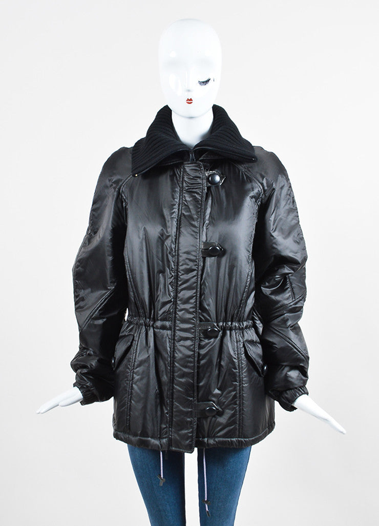 "Black Isabel Marant Nylon Toggle ""Brewster"" Parka Coat Frontview 2"