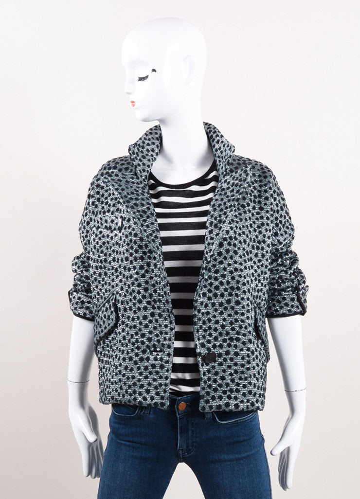 Isabel Marant Black and Metallic Silver Cotton Polka Dot Cropped Jacket Frontview