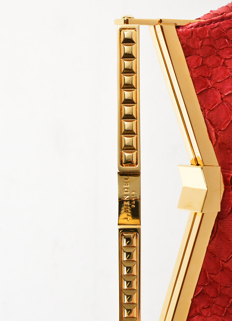 J. Mendel Raspberry Red Python Leather and Metal Clutch Bag Detail 2