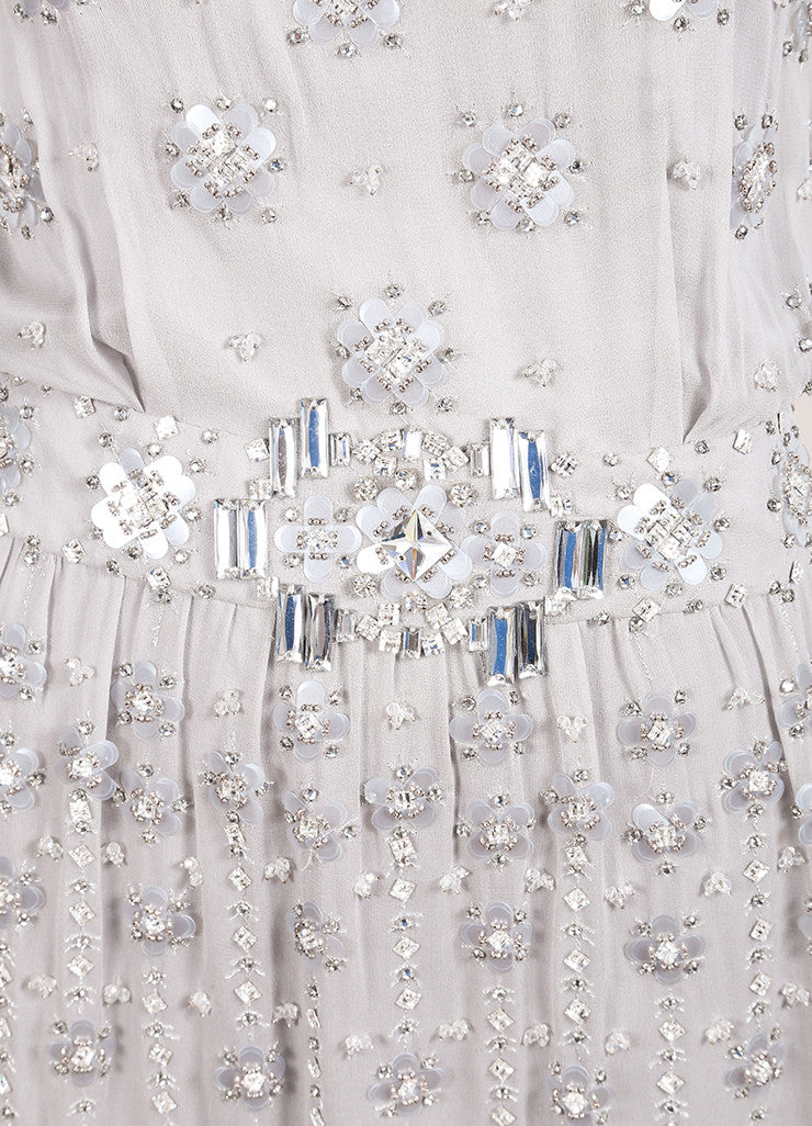 Jenny Packham Grey Silk Beaded Rhinestone Embellished Mini Dress Detail