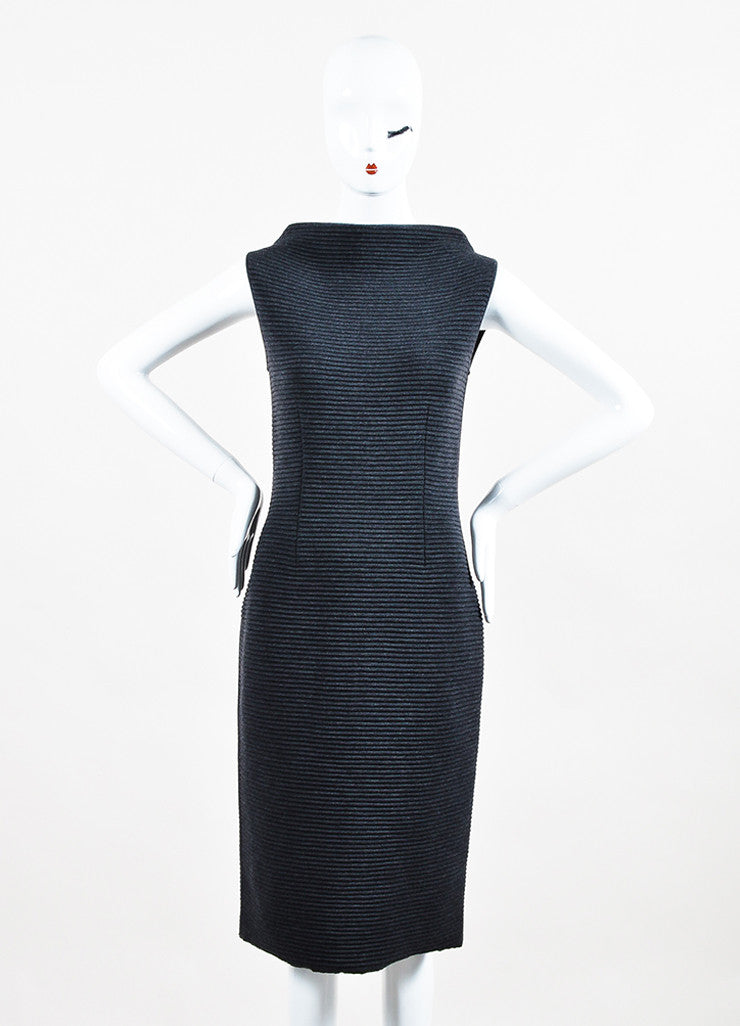 Jil Sander Dark Grey Wool Ribbed Knit Sleeveless Sweater Dress Frontview
