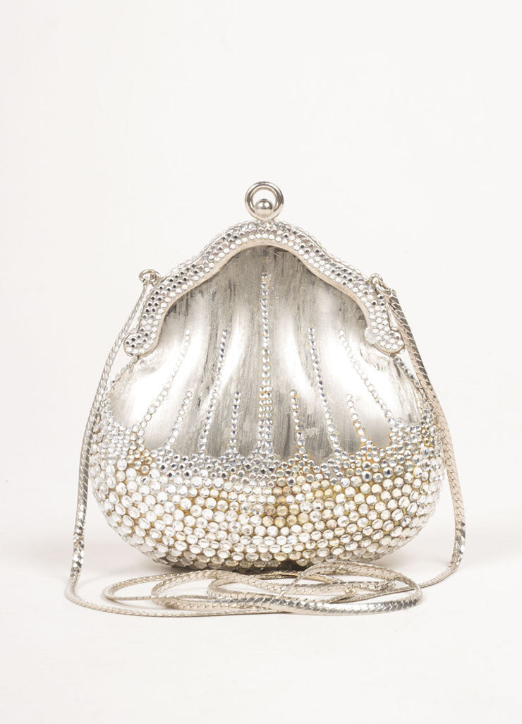 Judith Leiber Silver Toned Metal Rhinestone Embellished Shell Chain Strap Clutch Bag Frontview