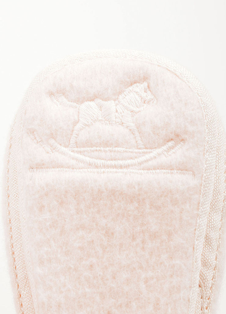 Hermes Pale Pink Wool and Angora Blend Baby Shoes Brand