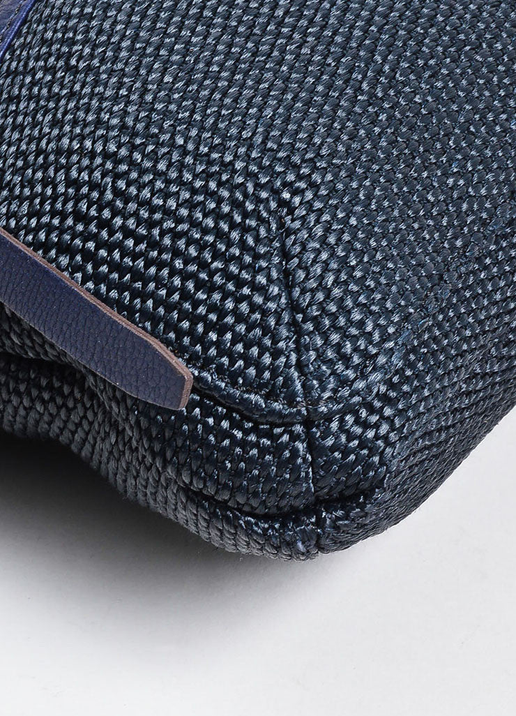 "Black and Navy Blue Lanvin Woven Leather ""Hero"" Chain Shoulder Bag Detail"