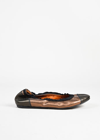 Lanvin Bronze Grained Leather Cap Toe Elastic Ballerina Flats side