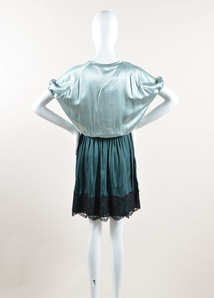 Lanvin Green and Black Silk Contrast Pleated Dress Backview