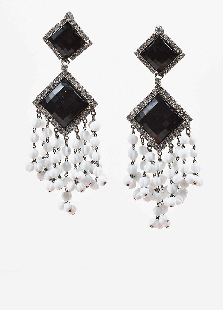 Lawrence Vrba Black and White Crystal Beaded Tassel Clip On Statement Earrings Frontview