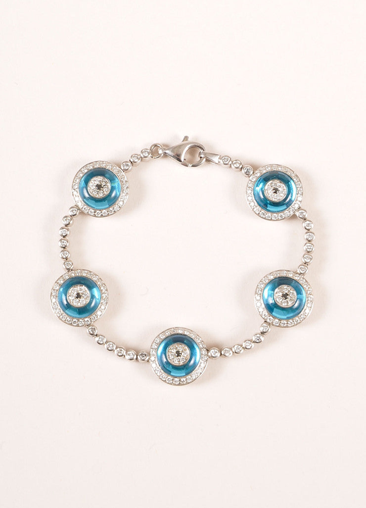 "Lorraine Schwartz 18KT White Gold and Blue Pave Diamonds ""Evil Eye"" Bracelet Frontview"