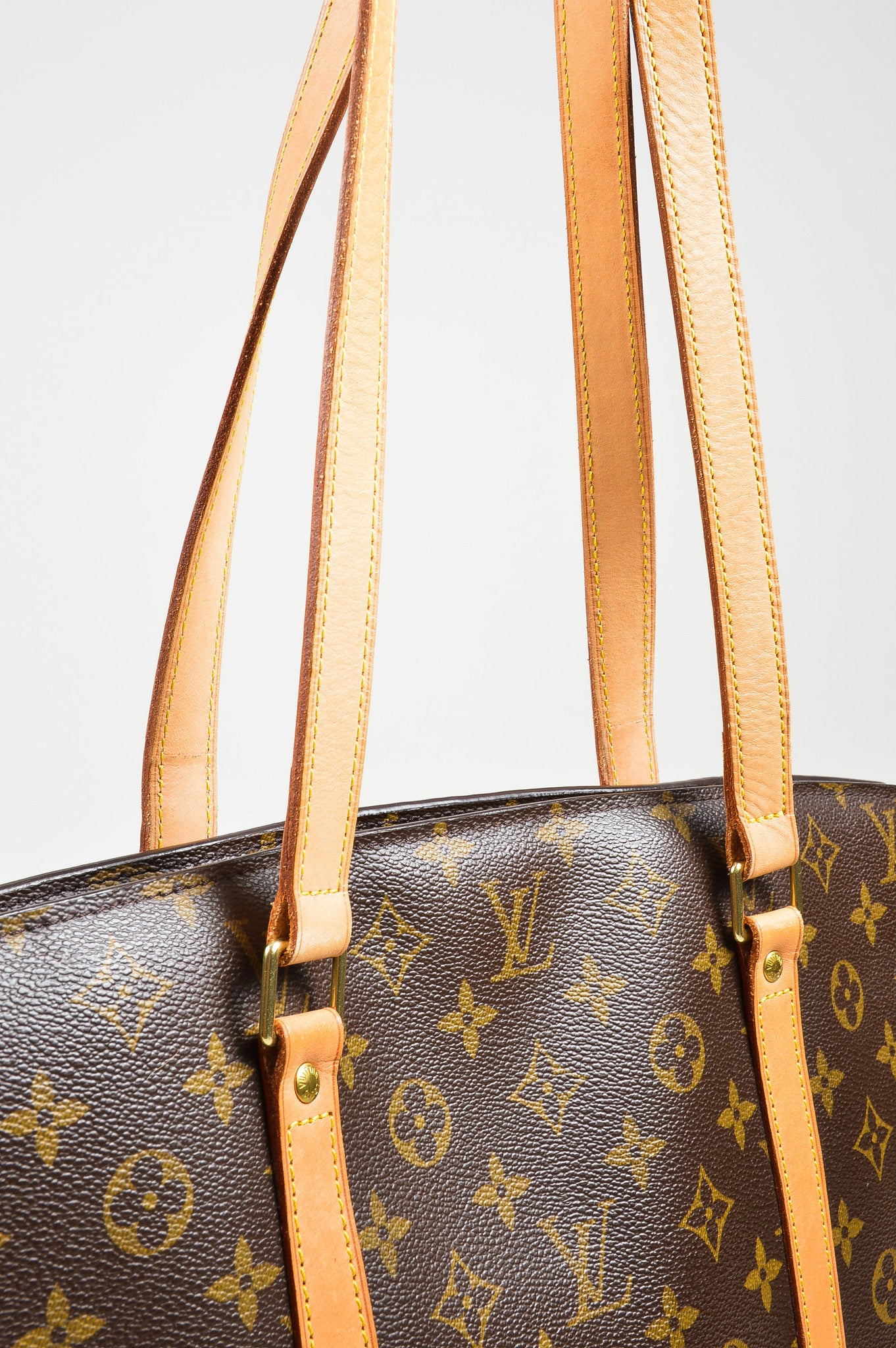 "Brown Louis Vuitton Canvas Monogram ""Babylone"" Tote Detail 2"