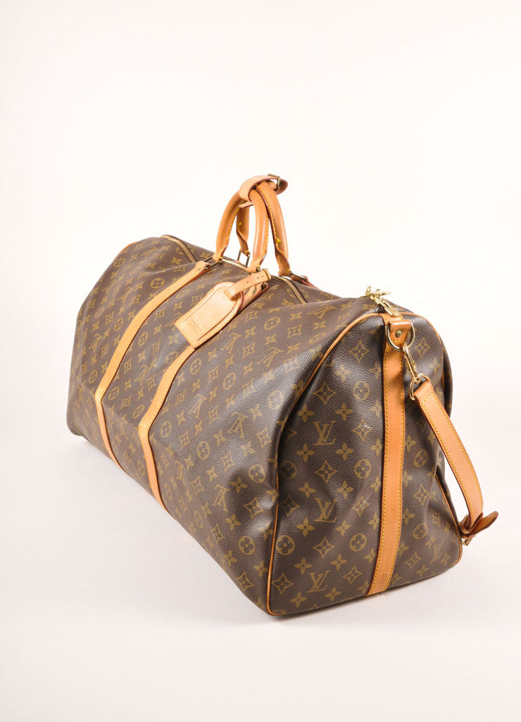 "Louis Vuitton Brown and Tan Coated Canvas and Leather Monogram ""Keepall 60"" Duffel Bag Sideview"