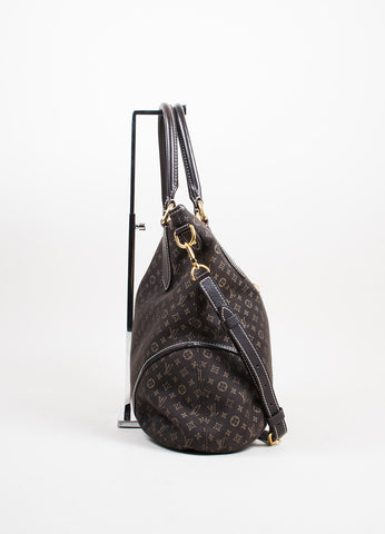 "Dark Brown and Tan Louis Vuitton Canvas Leather Monogram ""Idylle Elegie"" Tote Bag Sideview"