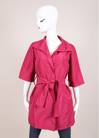 Louis Vuitton Magenta Silk Short Sleeve Belted Jacket Frontview