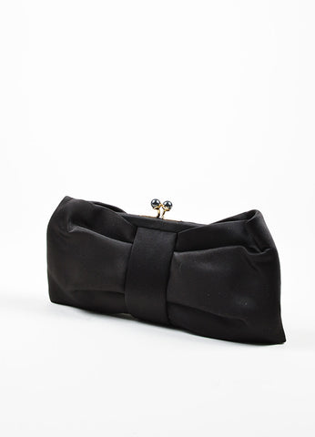 Love Moschino Black Satin Bow Faux Pearl Kiss Lock Clutch Bag Sideview