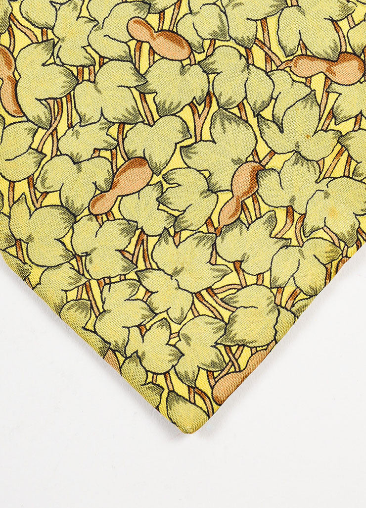 Men's Hermes Green, Brown, and Yellow Silk Leaf Printed Neck Tie Detail 2
