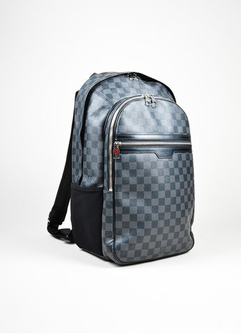 "Men's Louis Vuitton Black and Grey Coated Canvas Damier Graphite ""Michael"" Backpack Sideview"