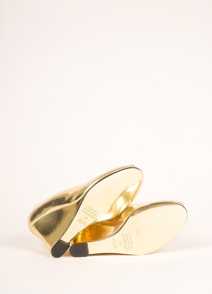 Maison Martin Margiela Gold Patent Leather Metallic Peep Toe Wedge Pumps Outsoles