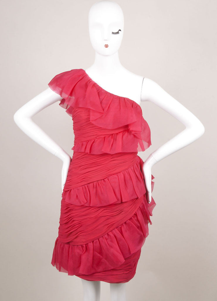 Marchesa Notte Pink Silk Ruffle Ruched One Shoulder Cocktail Dress Frontview