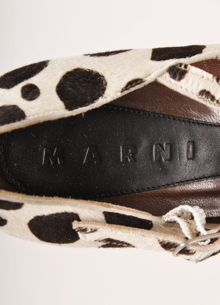 Marni Brown and Cream Spotted Pony Hair Platform Mary Jane Pumps Brand