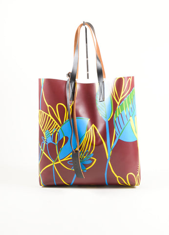 Marni Brown, Blue, and Yellow Floral Print Plastic Wood Cut Tote Bag Frontview