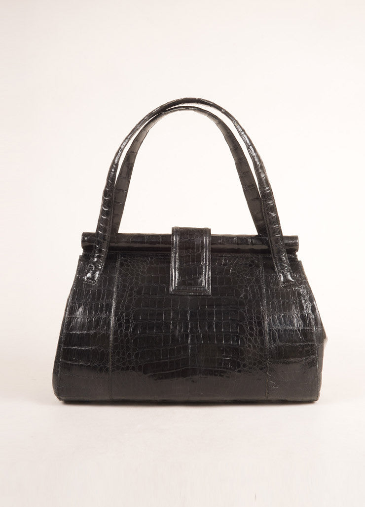 Nancy Gonzalez Black Crocodile Patent Leather Frame Shoulder Bag Frontview