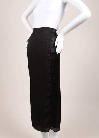 Nina Ricci New With Tags Black Silk Slit Maxi Skirt Sideview