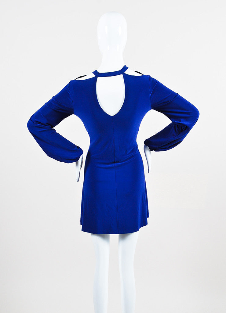 Norma Kamali x Everlast Royal Blue Long Sleeve Cutout Shoulder Dress Back