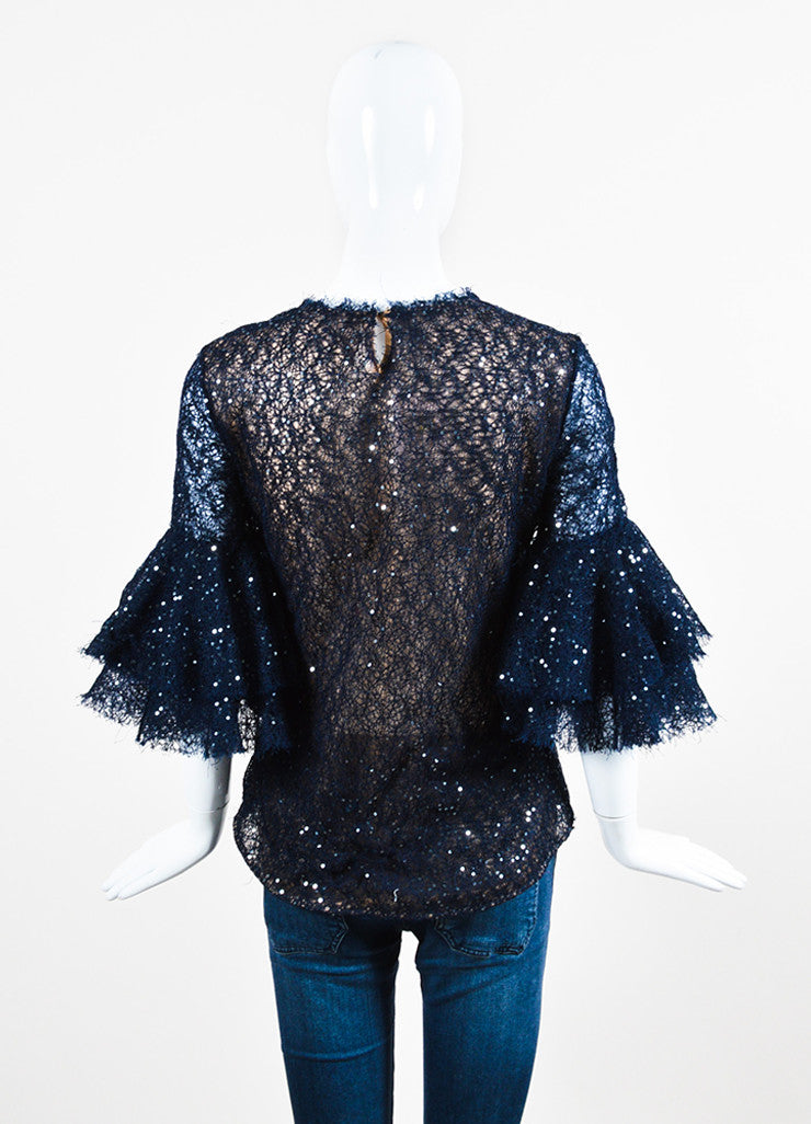 Navy Blue Oscar de la Renta Net Sequin Illusion Bell Sleeve Sheer Top Backview