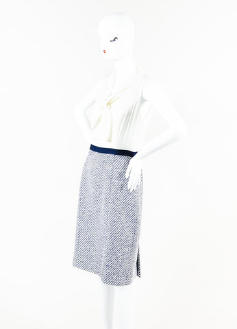Oscar de la Renta Cream Navy Tweed Sleeveless Tie Neck Dress Side