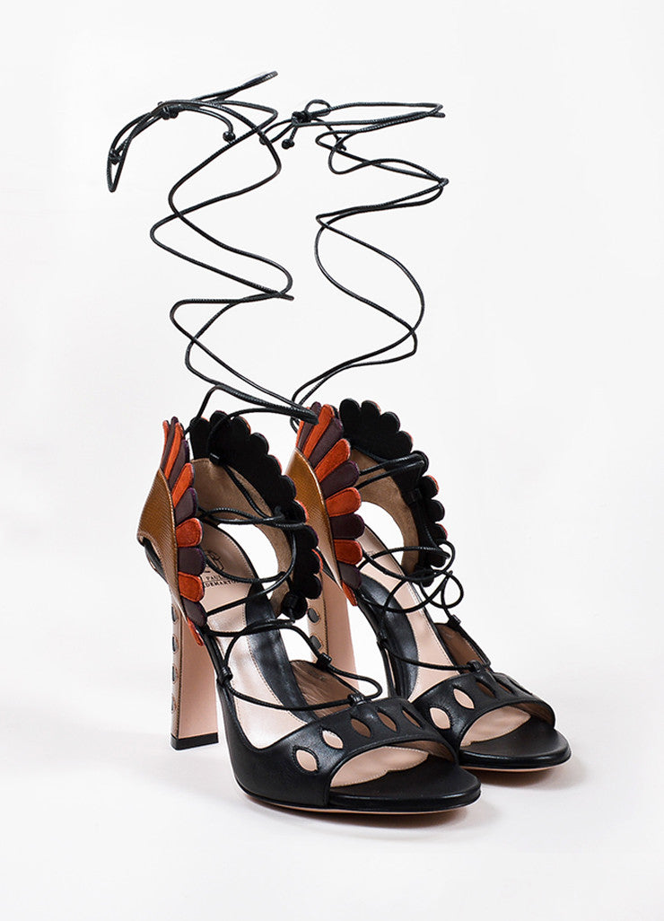 "Paula Cademartori Multicolor Leather ""Lotus"" Lace Up Sandal Frontview"