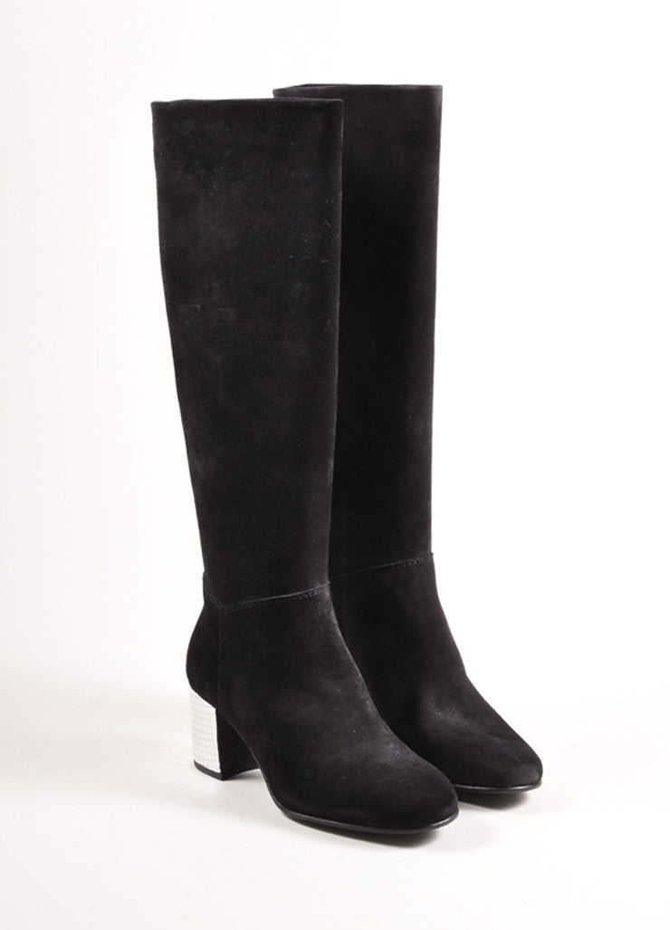 Pedro Garcia Black Suede Leather Mirrored Heel Knee High Boots Frontview