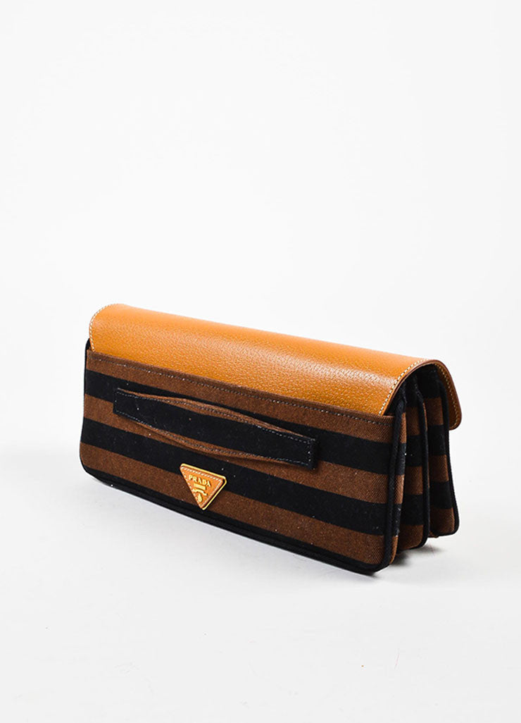 "Prada Tan, Brown, and Black Canvas Leather Striped ""Canapa Righe"" Clutch Bag Sideview"