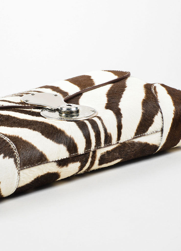 Cream and Brown Ralph Lauren Pony Hair Zebra Print Flap Clutch Bag Bottom View