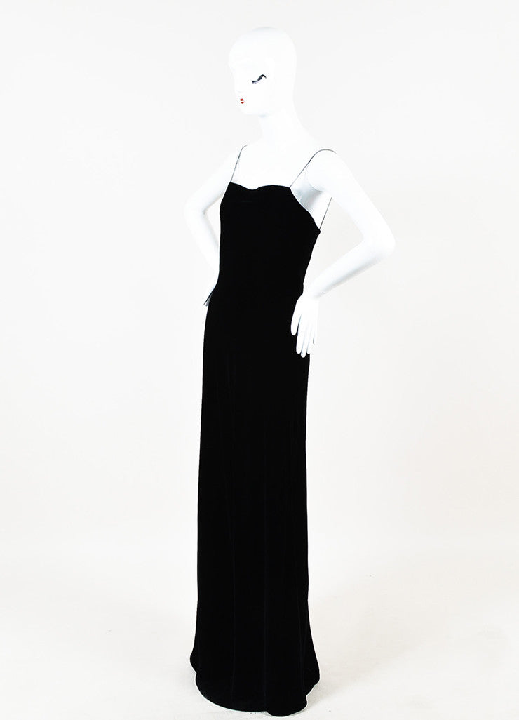 Ralph Lauren Collection Black Velvet Spaghetti Strap Full Length Gown Sideview