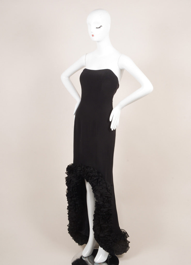 Roland Nivelais Black Silk Ruffle Hi Low Hem Strapless Gown Sideview