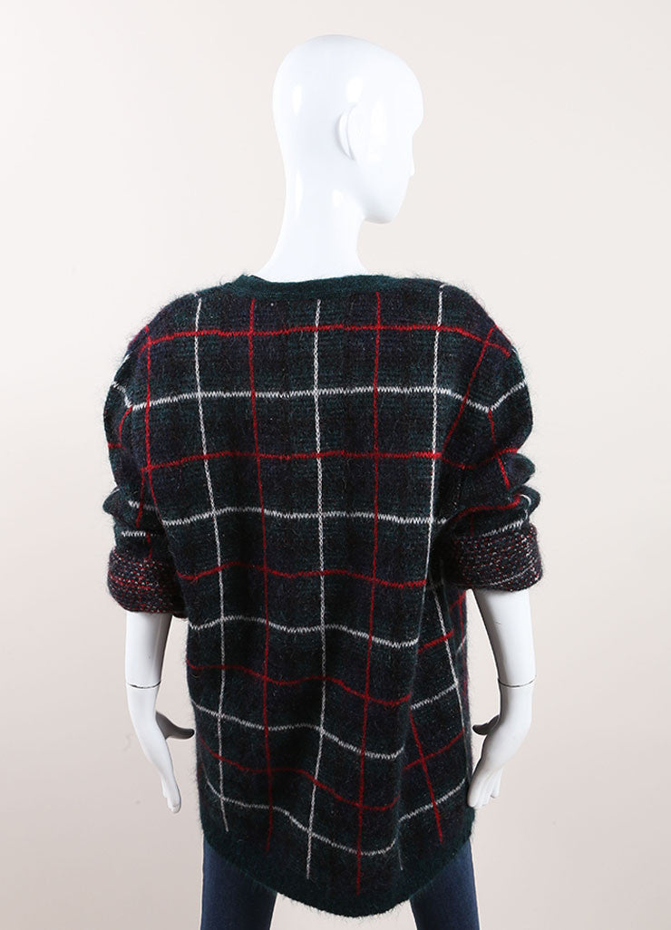 "Saint Laurent Green, Red, and White Mohair Blend ""Tartan"" Cardigan Backview"