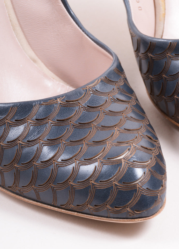 "Salvatore Ferragamo Dark Blue Leather Scalloped Scale ""Ginepro"" Pumps Detail"