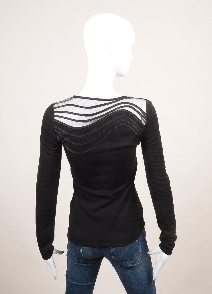 Stella McCartney New With Tags Black Wavy Stripe Long Sleeve Top Backview