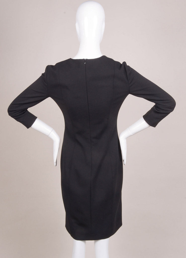"The Row New With Tags Black Wool Blend Three Quarter Sleeve ""Neroyd"" Sheath Dress Backview"
