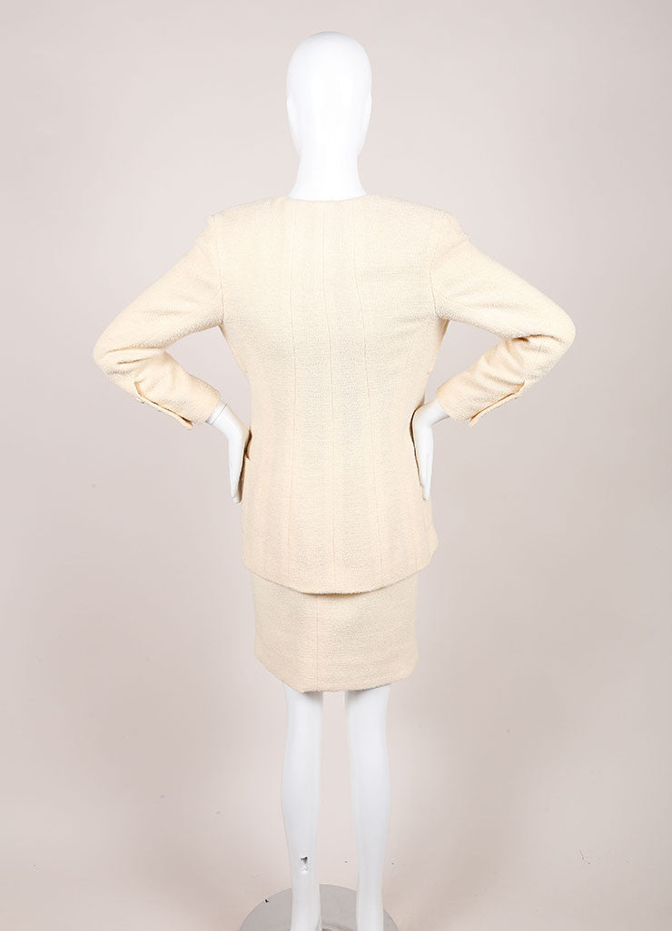 Chanel Cream Wool Tweed 'CC' Button Skirt Suit Backview