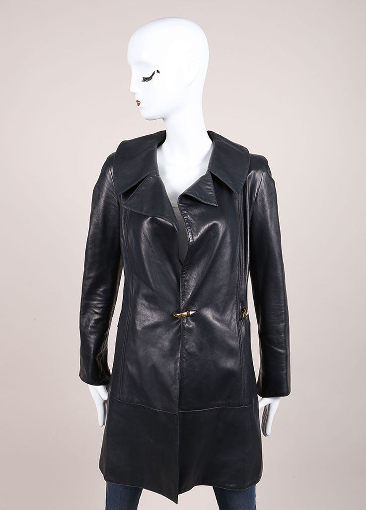 Claude Montana Navy Leather Long Sleeve Coat Frontview