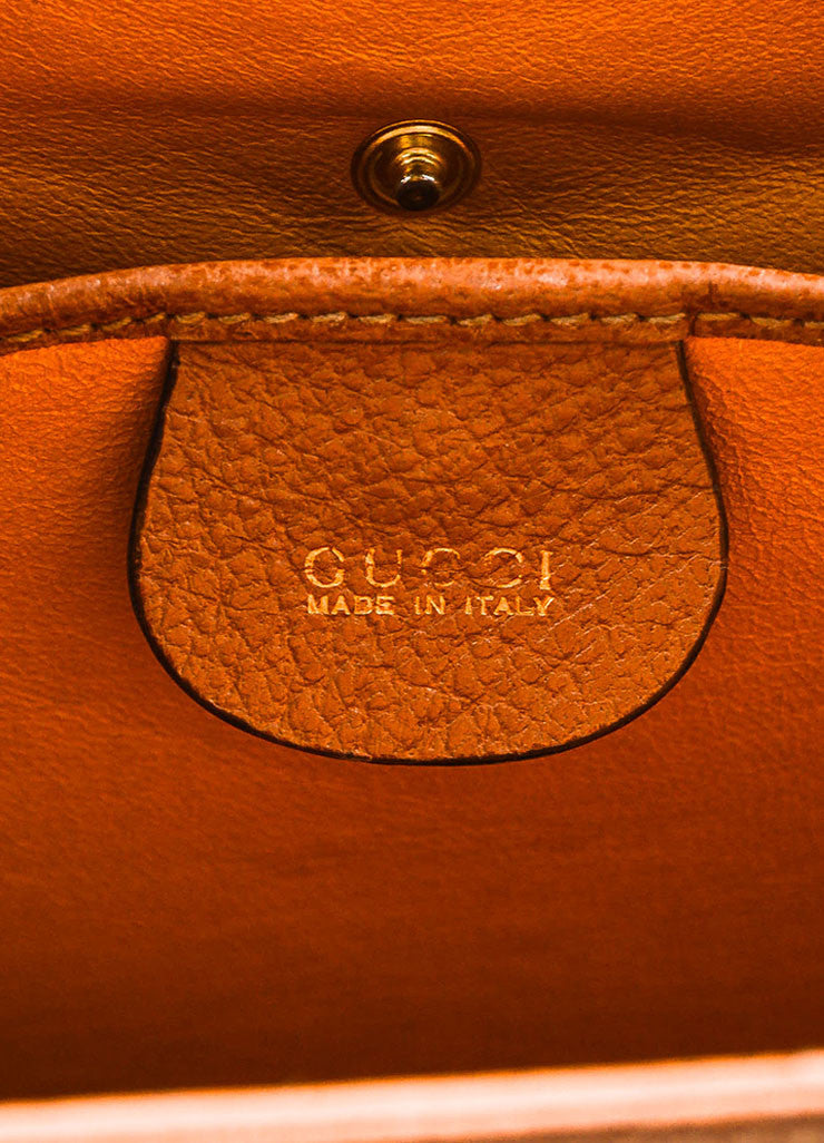 Gucci Tan and Gold Toned Textured Leather Pushlock Top Handle Trapezoidal Bag Brand