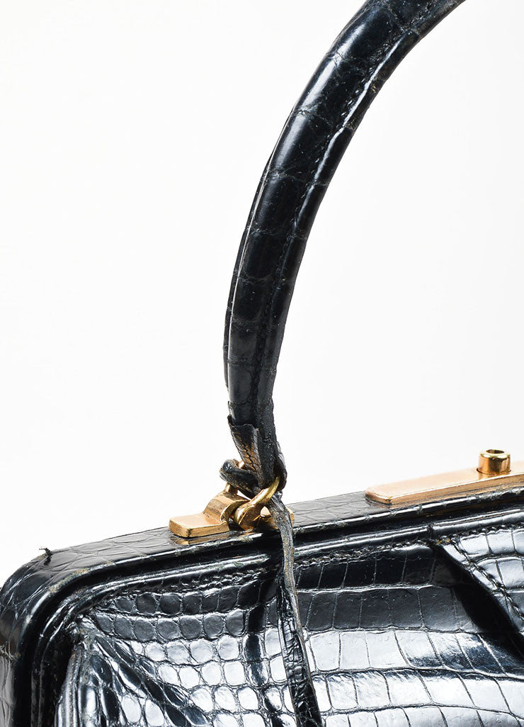 Black Hermes Crocodile Leather Satchel Frame Handbag Detail 2