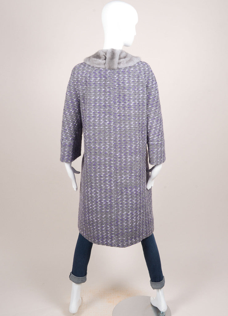 Valentino Grey and Purple Wool Woven Knit Fur Trim Long Sleeve Coat Backview