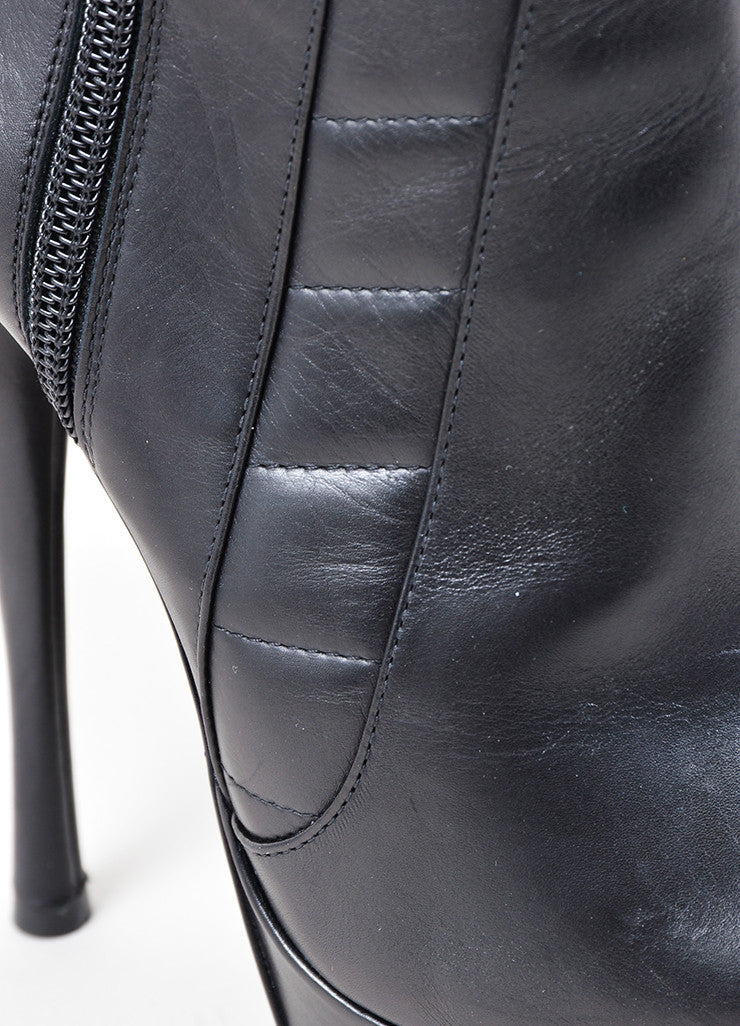 Versace Black Leather Paneled Pointed Platform Ankle Booties Detail