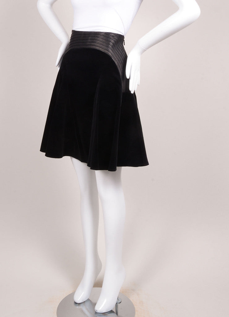 Versace New With Tags Black Velvet Leather Trim Pleated Skirt Sideview