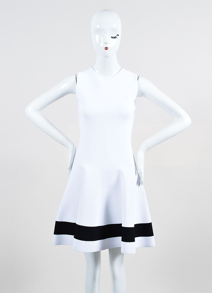 White Victoria Beckham Stretch Knit Sleeveless Dress Front