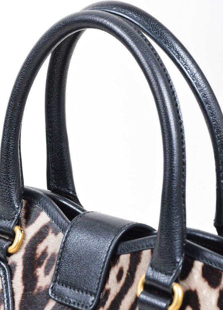 "Leopard Pony Hair Yves Saint Laurent ""Medium Cabas Chyc"" Tote Bag Detail 2"
