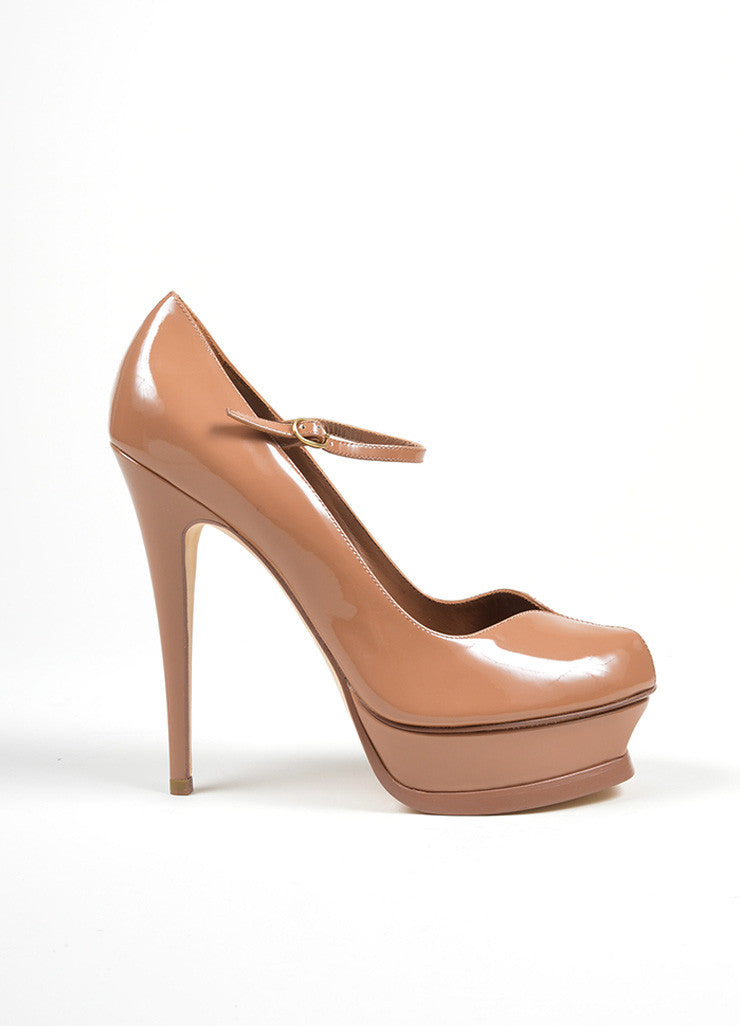 "Brown Yves Saint Laurent ""Tribute"" Mary Jane Plaform Pumps Sideview"